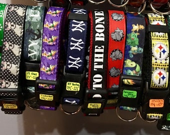 Dog collars of Eagles Snowflakes NY Yankees Navy Pittsburg Steelers Hearts Beach Starfish Pokemon Bulldogs Tinkerbell and NY Jets