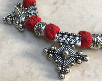 Red Thread Pendant Necklace