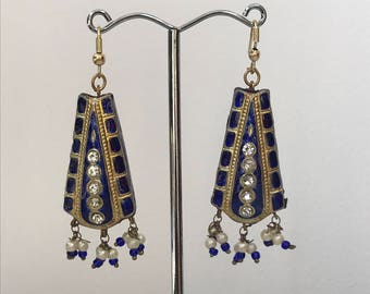 Blue/Gold Drop Beaded Earrings