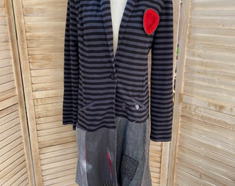 Vintage lace patched jacket Boho lagenlook rustic jacket Iris S-M Boho Up-cycled zipped lace jacket.