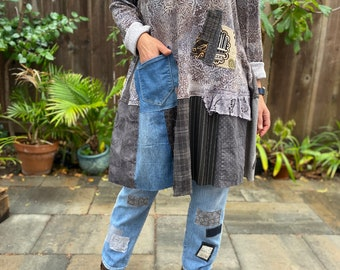 Oversized rustic patched tunic dress 'Marlo' L-1X, Boho knit abstract print dress, loose up-cycled knit dress.