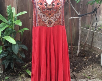 Maxi boho chick upcycled dress size M recycled redesigned woman clothing