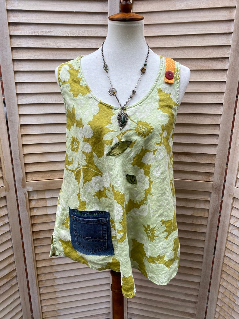 patched boho free form tunic One of a kind. Sleeveless crop lime  Green linen top S-M Up-cycled