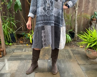 Oversized rustic gray tunic dress 'Orlando' L-2X, Patched long hoodie knit dress, Up-cycled graphic print bohemian hoodie dress.