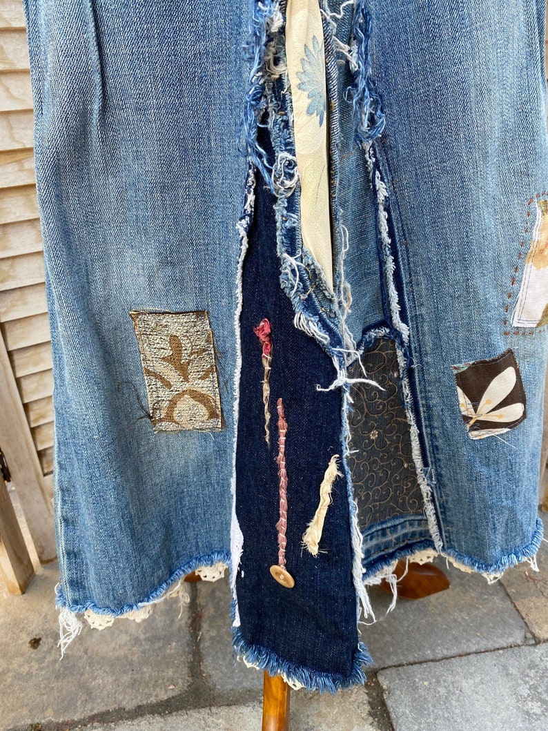 hippie Boho Redesigned jeans One of a kind denim skirt. Denim maxi skirt 12 Deconstruct jeans