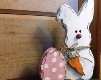 Easter Bunny Decoration, Easter Bunny, Easter Decorations, Wooden Rabbit, Spring Bunny, Spring Decor, Spring Decorations, Shelf Decor