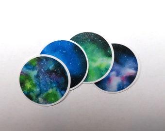 Watercolor Galaxy Circle Stickers