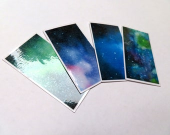 Watercolor Rectangle Galaxy Stickers