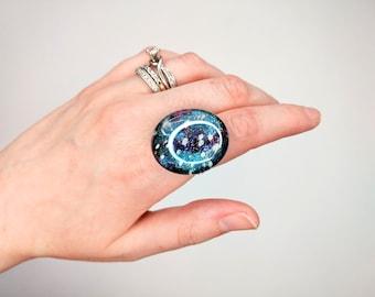 Blue Galaxy Stone Ring