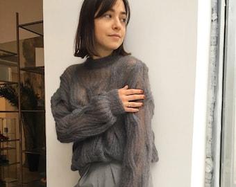 Mohair sweater, Silk mohair  sweater, women's sweater, grey sweater, women's sweater,   light sweter, handknit sweter,   oversized sweater
