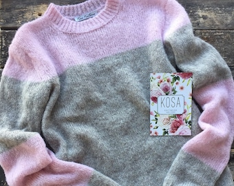 Pink&grey silk alpaca sweater, alpaca sweater,hand knitted pullover,light sweater