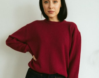 Red alpaca mohair office sweater for woman plus size custom sweater custom knit woman sweater