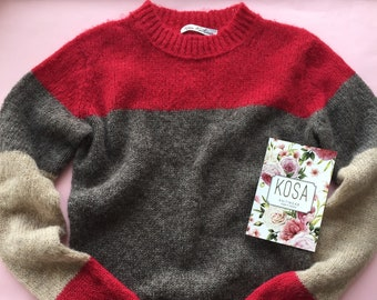 Sweater with a red and gray stripes, alpaca sweater, women's knitted sweater