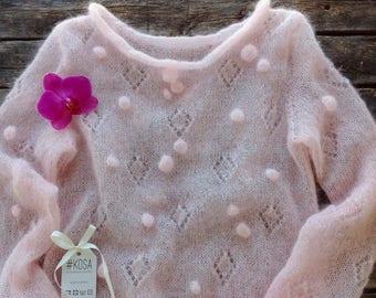 Silk Mohair sweater, women sweater, handknit sweater,