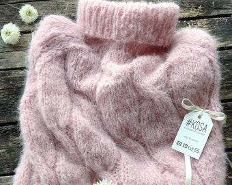 Pink Fluffy Alpaca and merino  sweater, womens sweater, handmade sweater