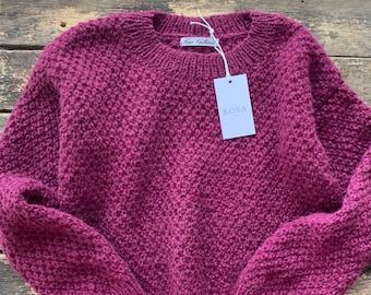 Berry alpaca women sweater. Regular fit alpaca women  sweater. Handknit alpaca sweater. Women  pullover.