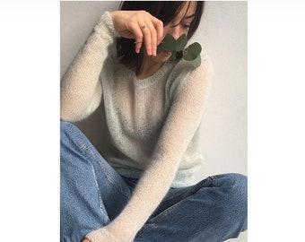 Silk mohair sweater, women's handknit sweater, Weight kidmohair sweater.