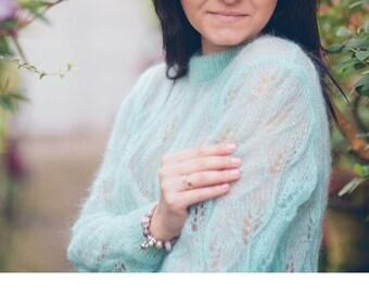 Mohair  sweater, silk mohair sweater, handknit sweater, elegant sweater,