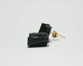 Natural Raw Black Tourmaline Gold Stud Earrings  (Start Up Sale!)