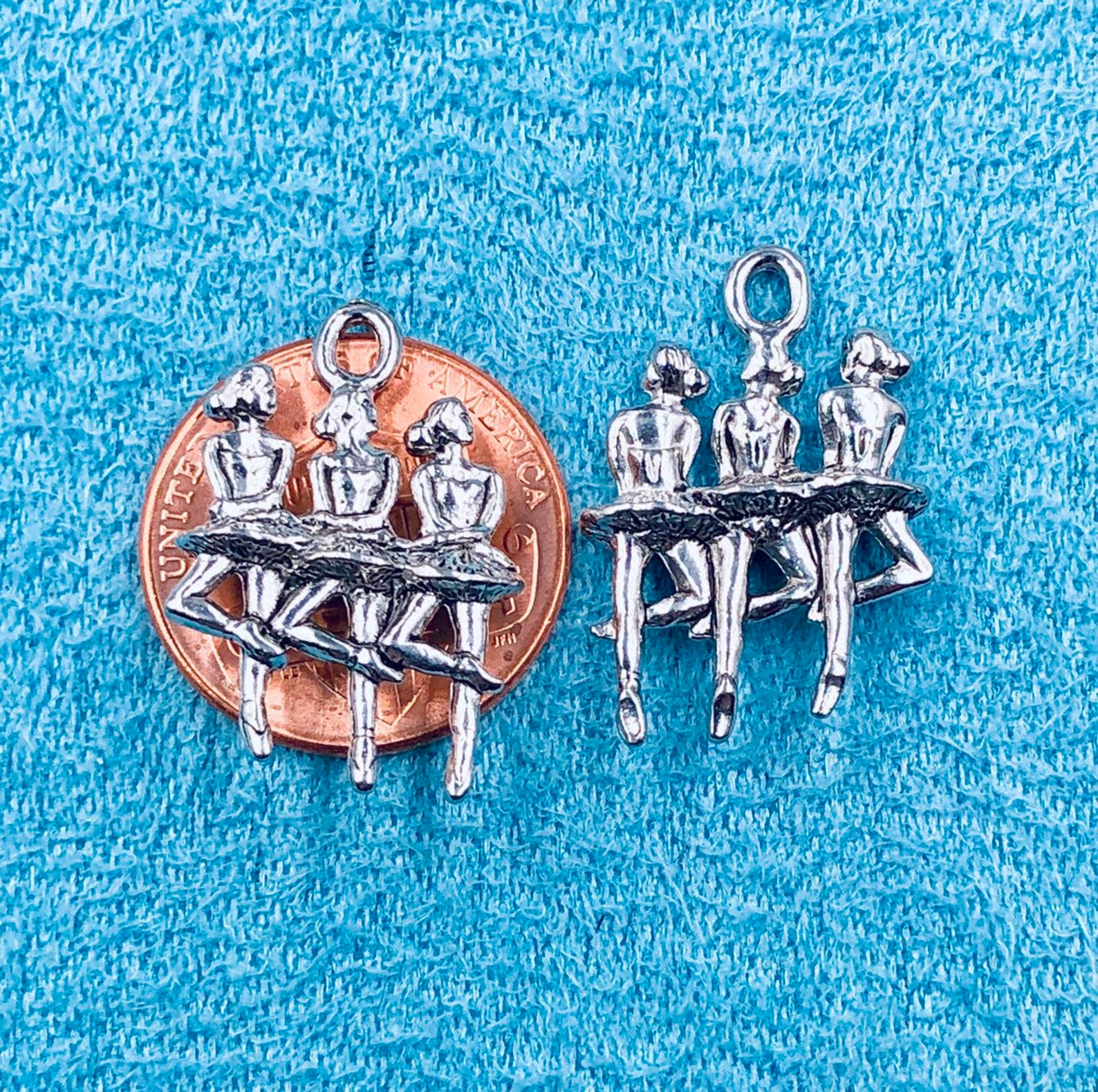 pewter ballerinas charm,ballet charm,3 ballerinas charm,pewter made in usa,pewter jewelry findings,quick ship from middlebury ve
