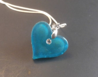 Colorful Heart and Crystal Necklace