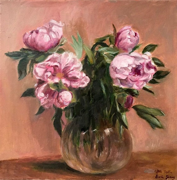 Vase of Peonies Handmade Oil Painting repro  Henri Fantin Latour