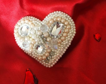 Handmade Heart Shaped Beaded Brooch