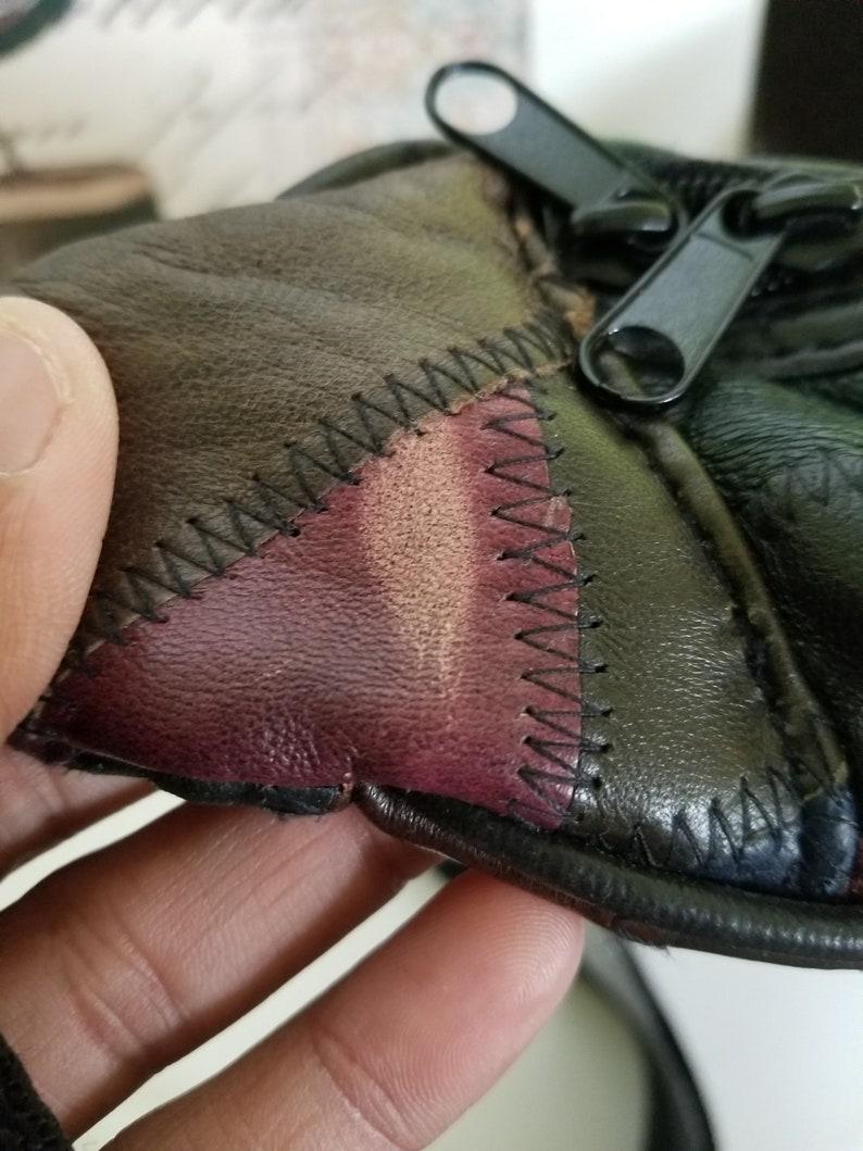 Leather Color Patch Fanny Pack Waist Pack Festival Bag Beach Gear Concert Murse Man Purse
