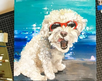 """By commission only: Pet portrait, oil or acrylic on canvas, this example is 18x18"""" (Do not purchase this example. Message me.)"""