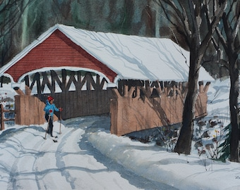 Skiing over Covered Bridge