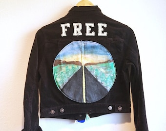 "Brown Corduroy Custom Patched and Painted ""FREE"" Jacket"