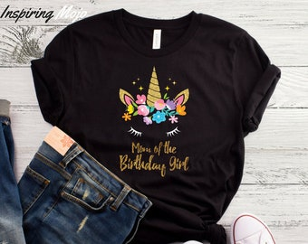 dd4b7a8a Unicorn Mom of the Birthday Girl T-Shirt, Unicorn Mom Shirt, Unicorn  Birthday Party, Unicorn Theme, Unicorn Family, Mom Of The Birthday