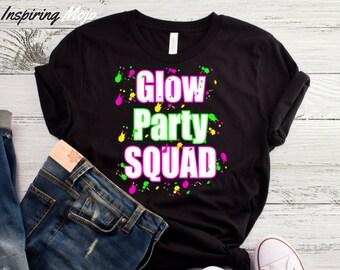 Glow Party Squad T Shirt Birthday Lets Guard Rave EDM Trance Trancewear