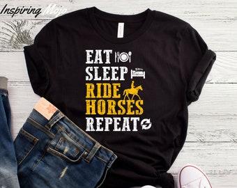Eat Sleep Ride Horses Repeat T-Shirt, Equestrian T-Shirt, Horse Gifts, Equestrian Clothing, Equestrian Gifts, Equestrian Shirt, Horse Shirt