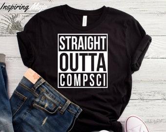 bc6e1e851 Straight Outta Compsci T-Shirt, Funny Programmer Shirt, Code IT T-shirt,  Humor Gift, Geek, Nerd, Present Coder, Computer Science Tech