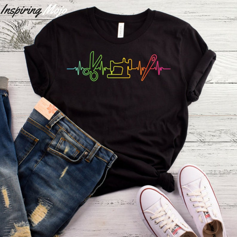 fc374ec8d Sewing Heartbeat T-Shirt Funny Quilting Shirt Quilter Gift | Etsy