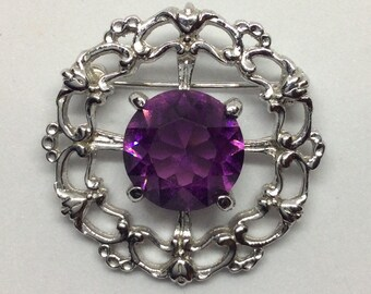 Celtic Style Vintage Brooch, Silver Colour with Purple Rhinestone