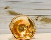 Rare Jeanette Anniversary Vintage Marigold Carnival Glass Bowl