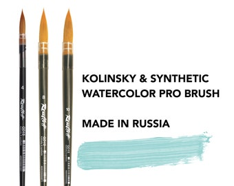 Watercolor paint brush kolinsky and synthetic brushes professional Roubloff made in Russia NOT SET!