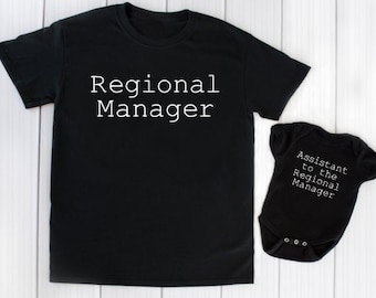 6076767e9 Regional Manager - Assistant - Matching Shirt - Onesie ® - Mother Father Son  Daughter - Mom - Dad - Grandpa - Grandma - Funny - Baby Shower