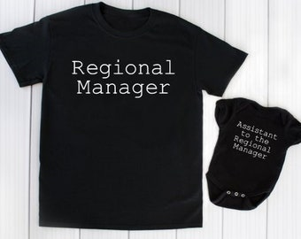 3b8b7830f Regional Manager - Assistant - Matching Shirt - Onesie ® - Mother Father  Son Daughter - Mom - Dad - Grandpa - Grandma - Funny - Baby Shower