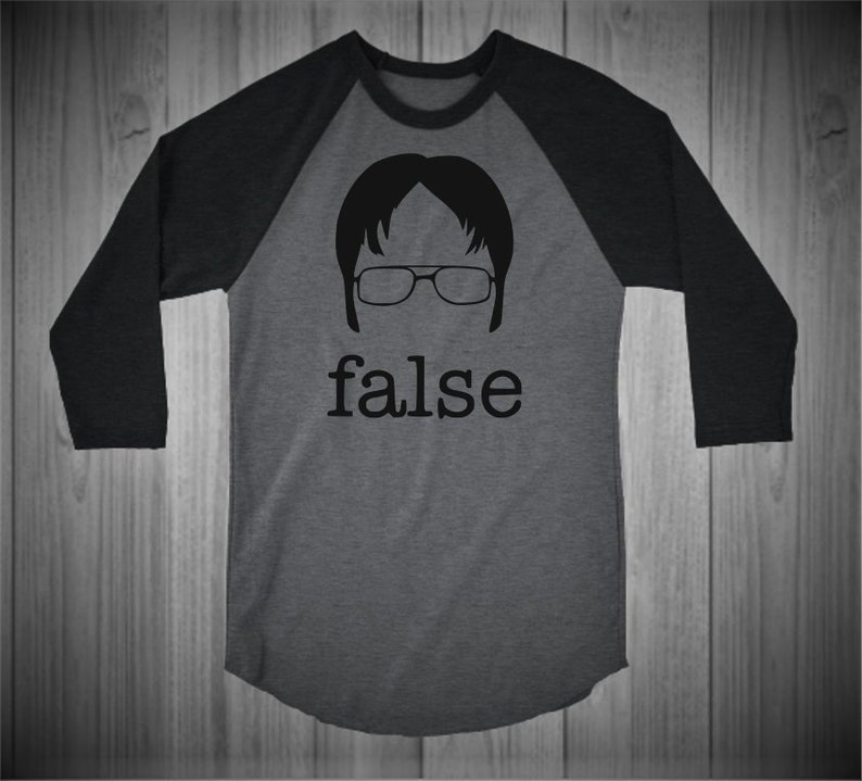 49287fa18 The Office Shirt False / Fact Dwight Schrute Raglan | Etsy