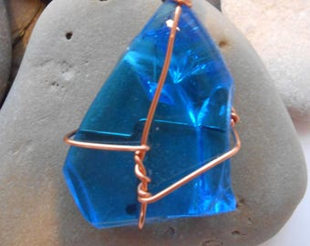 Blue Glass Wire-Wrapped Pendant:  Drift