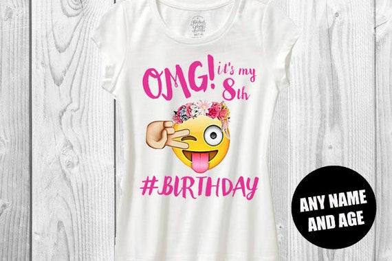 Girls Omg Emoji Birthday Shirt Its My