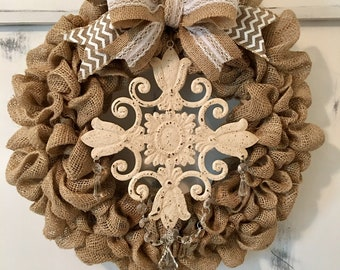 Country Style Shabby Chic Burlap Wreath