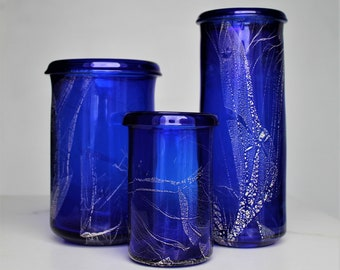 Cobalt Glass Cylinders with Silver Leaf, Trio