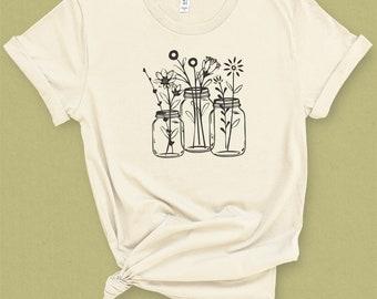 Mason Jar Graphic Tee   Wildflower Shirt   Botanical T-shirt   Gardening Tshirt   Floral Shirt   Spring Shirt