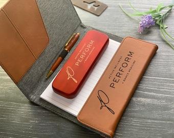 Gift Set Portfolio + Pen Case + Pen, Fathers Day Gift, Personalized Gift Set, Refillable Portfolio, Rosewood Pen Case + Executive pen set
