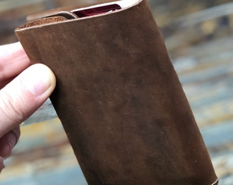 Customized Cowhide Leather Wallet, Front Pocket Slim Wallet, Full-Grain Handmade Leather Wallet, Minimalist Wallet, Free Shipping