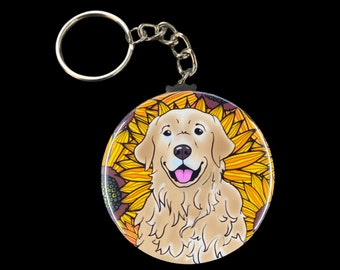 dogs with glasses golden retriever mom dog keychains gifts for dog lovers dog dad dog mom gift Golden Retriever Dog Keychain Wristlet